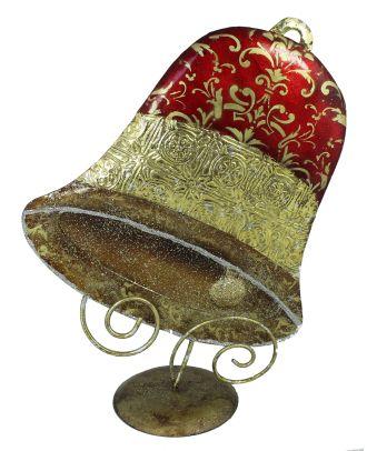 Dekofigur Weihnachtsglocke Weihnachtsdeko handbemalt 34 cm Hoch Metallfigur