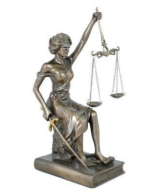 Dekofigur Justitia Göttin der Gerechtigkeit Skulptur Plastik bronziert 29 cm mit Waage Schwert Augenbinde