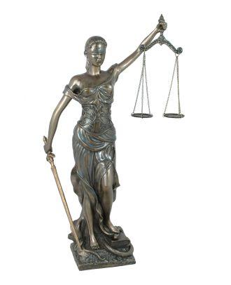 Dekofigur Justitia Göttin der Gerechtigkeit Skulptur bronziert ca. 45 cm edel
