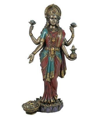 Lakshmi Figur hinduistische indische Göttin Hindu Dekoration bronziert Hinduismus Dekofigur Buddha