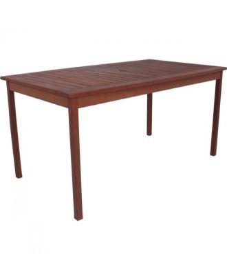 Gartentisch MADISON rechteckig Länge 150 cm Durchlass Sonnenschirm Holztisch Eukalyptus FSC Mix 70%