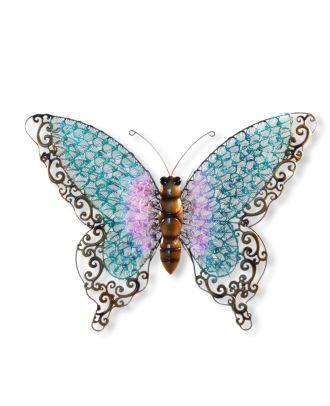Wandfigur Schmetterling blau Metallfiguren für den Garten Dekofigur groß