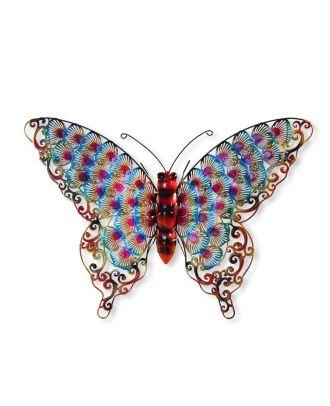 Wandfigur Schmetterling rot Metallfiguren für den Garten Dekofigur groß
