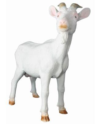 Ziegenbock Figur weiß Geißbock Ziege Bruce Gartenfigur Tierfigur Dekofigur Gartendekoration