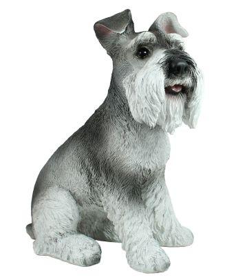 """Dekofigur Hund Hündin Zwergschnautzer """"Pia"""" sitzend Tierfigur Skulptur Haushund"""
