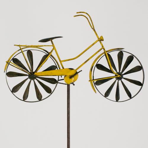 windspiel fahrrad metallwindrad bicylce yellow garten deko windrad neu ebay. Black Bedroom Furniture Sets. Home Design Ideas