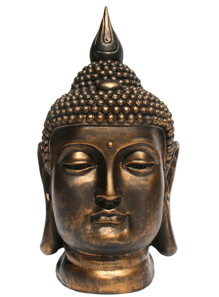 dekofigur buddhastatue buddha kopf b ste gold bronze optik feng shui gartenfigur ebay. Black Bedroom Furniture Sets. Home Design Ideas