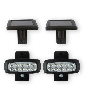 LED Solarleuchte 2er Set Außenleuchte Beleuchtung Bewegungsmelder Lampe schwarz 103117 Solar