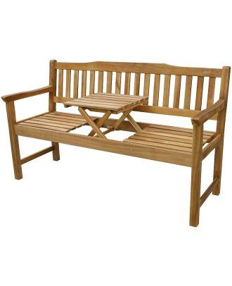 Gartenbank Holz mit Tisch FSC Akazienholz Parkbank Sitzbank 3 Sitzer Bank Holzbank