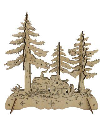 Weihnachtsdekoration mit Beleuchtung aus Holz Tannenbäume und Waldhütte LED beleuchtet