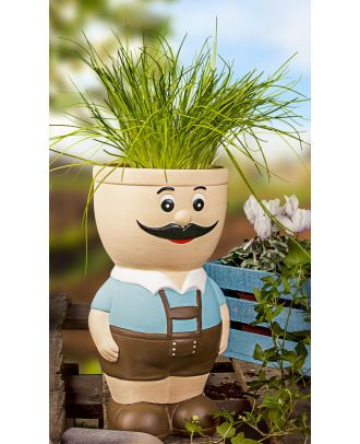 Blumentopf Figur Sepp aus Keramik Kräutertopf Übertopf für Blumen Pflanztopf