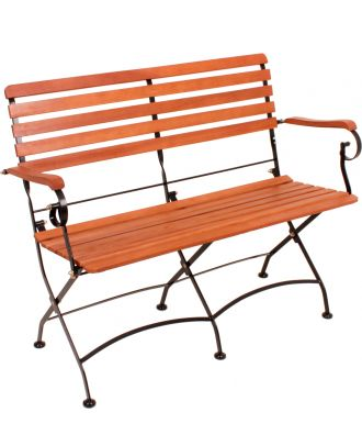 Gartenbank Klappbank WIEN 2-Sitzer Länge 116 cm Stahlgestell lackiert Holz Eukalyptus FSC 100%