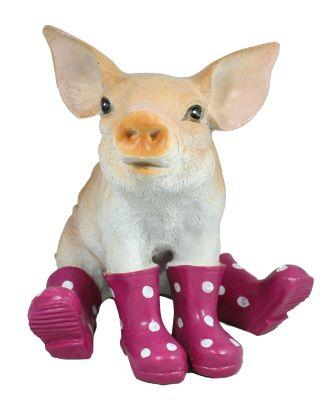 Schwein Sau mit Gummistiefel in brombeer Schweinchen Figur Gartenfigur Dekofigur Stiefelfigur