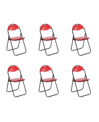 Klappstuhl gepolstert rot Metall 6er Set Küchen Klappstuhl Campingstuhl Gästestühle