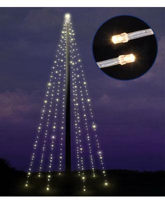 Fahnenmast Beleuchtung Lichterkette LED außen 400 LED warmweiss Timer Weihnachtsbeleuchtung