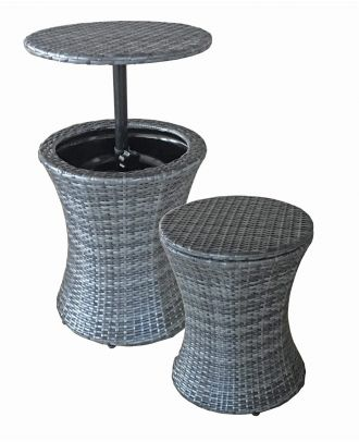 Balkontisch Stehtisch Gartentisch rund Tisch höhenverstellbar 45 cm Getränkekühler Bistrotisch Beistelltisch