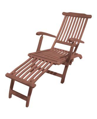 Gartenliege Deckchair PHOENIX Rücken 3-fach verstellbar Fußteil Relaxliege Holz Eukalyptus