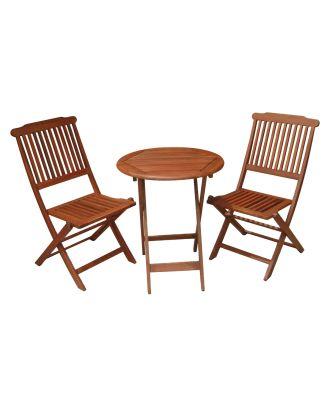 Balkontischgruppe PRAG klappbar 1 Gartentisch rund 2 Gartenstühle Gartenmöbel Holz Eukalyptus FSC Mix 70%