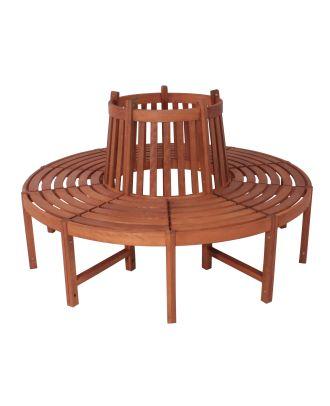 Baumbank Gartenbank FONTANA 5-Sitzer rund Sitzbank Holz Eukalyptus
