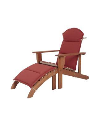 Gartenstuhl Adirondack Chair HARPER Holzstuhl Fußteil Sitzauflage Holzsessel Eukalyptus