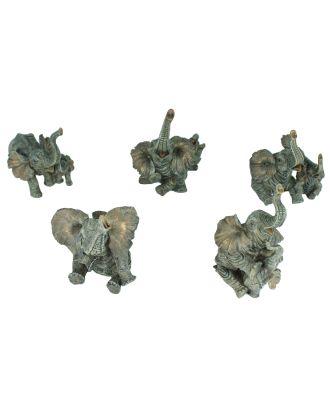 Dekofigur 5er Set Elefant Elefantenfamilie Glücks-Elefant Garten Dekoration
