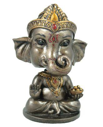 Ganesha Figur mit Wackelkopf hinduistische Dekofigur indische Gottheit bronziert Gott Ganesha