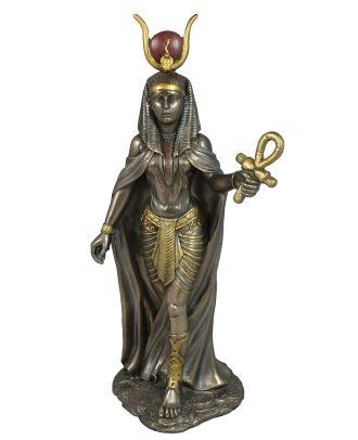 Hathor Gott Ägypten Figur bronziert mit Anch-Kreuz Dekofigur Ägypthische Göttin