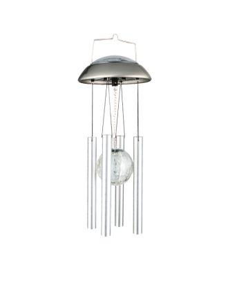 Windspiel LED Dekoleuchte Solarlampe Glaskugel mit Klangröhren aus Edelstahl