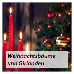 Künstliche Weihnachtsbäume und Girlanden